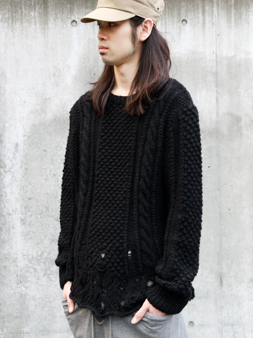 【MORE SALE_MEDAMA#6】■TALKING ABOUT THE ABSTRACTION // BROKEN ARAN KNIT SWEATER ¥21,000- → ¥16,800-