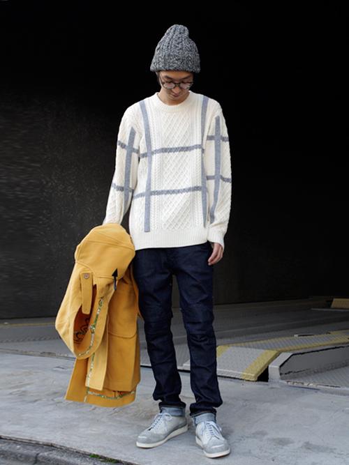 【.efiLevolのアラン編みのホワイトニット】