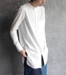 wizzardのノーカラーデザインのロングシャツ