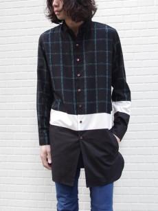 SHAREEFの柄×無地の切り替えが印象的なロングシャツ
