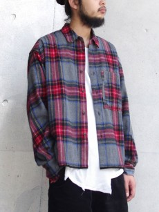 JieDa // CUT OFF FLANNEL SHIRT