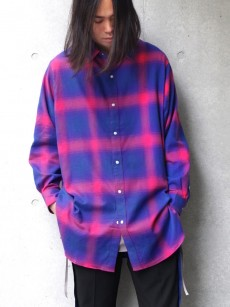 JieDa // OMBRE PLAID LONG SHIRT