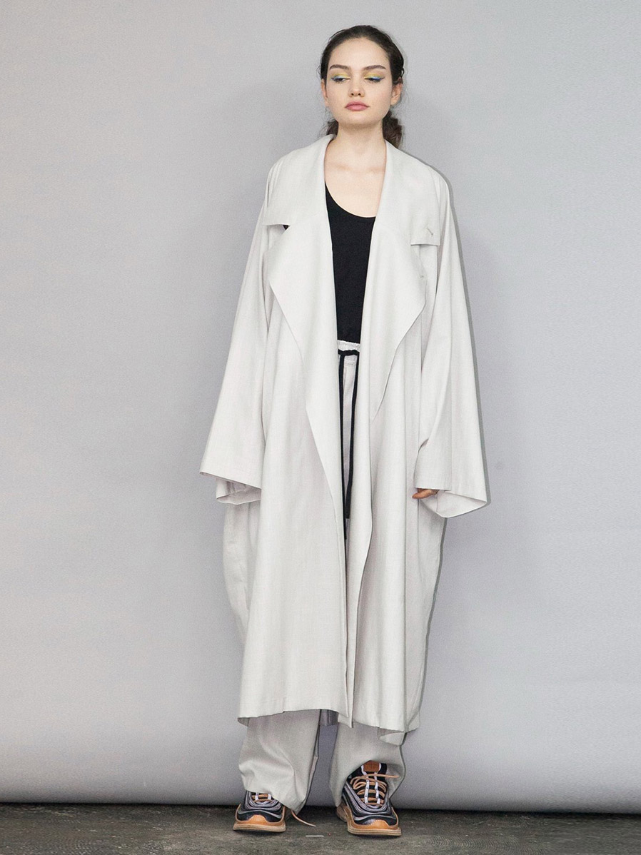 my beautiful landlet // COTTON LYOCEL & LINEN CANVAS LONG COAT
